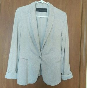 Zara BASIC Beige Blazer Roll up cuff Size M
